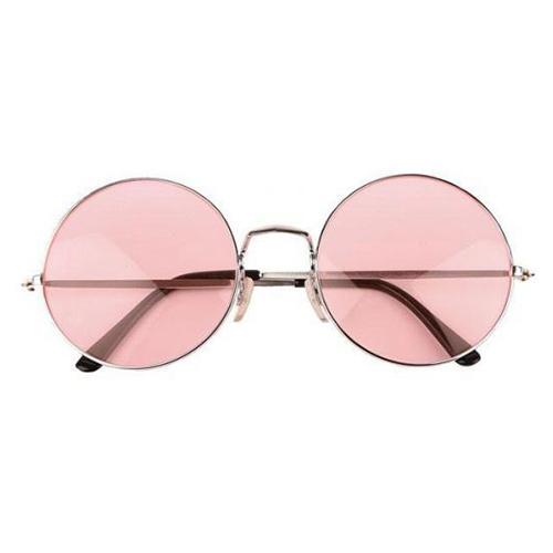 Hippie ronde zonnebril roze lenzen voor